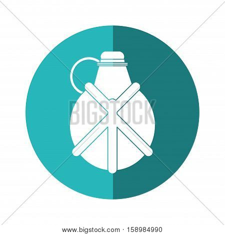 water canteen equipment camping blue circle shadow vector illstration eps 10
