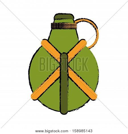 drawing water canteen equipment camping vector illustration eps 10