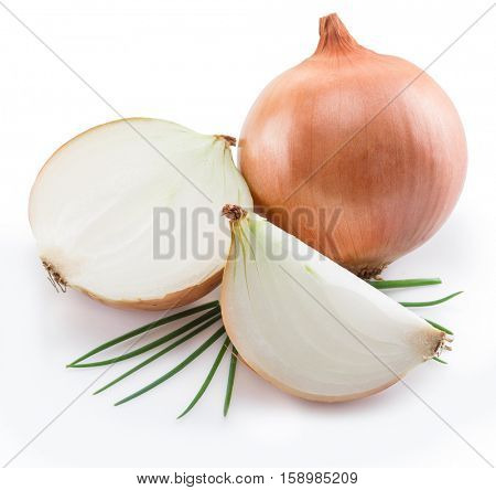 Bulb onions and green onions isolated on a white background.