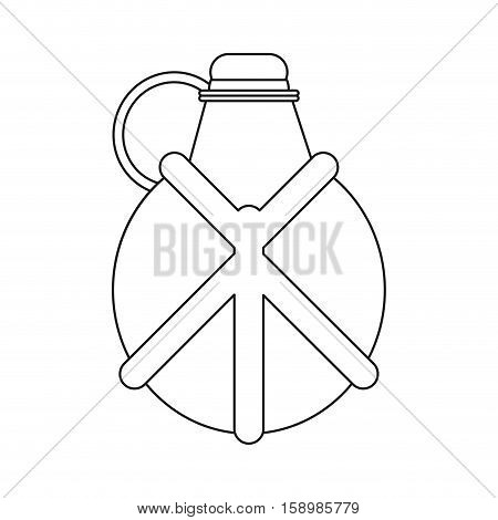 outline water canteen equipment camping vector illustration eps 10