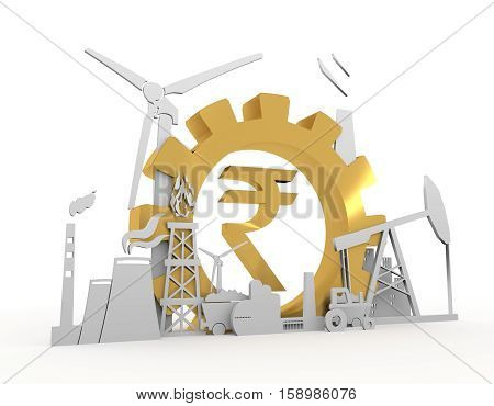 Energy and Power icons set on white backdrop. Sustainable energy generation and heavy industry. 3D rendering. Golden material Rupee sign
