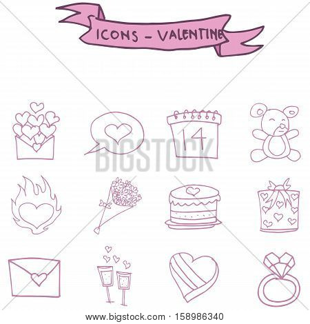 Valentine icons pink element vector art collection stock