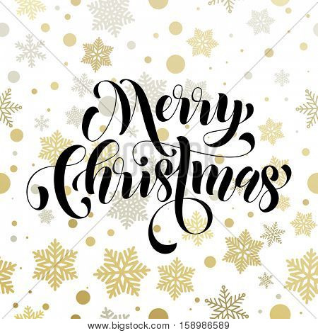 Christmas decoration background. Vector pattern of winter golden and silver crystal ornaments snowflakes. Merry Christmas festive text calligraphy lettering for greeting card