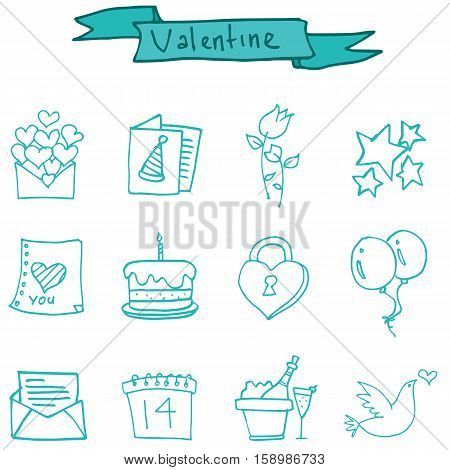 Illustration of valentine day element collection stock