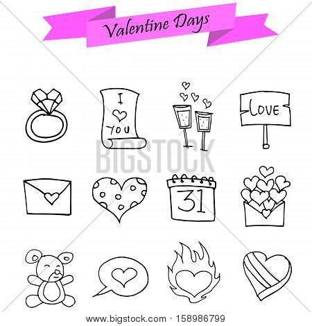 Valentine day element of icons collection stock