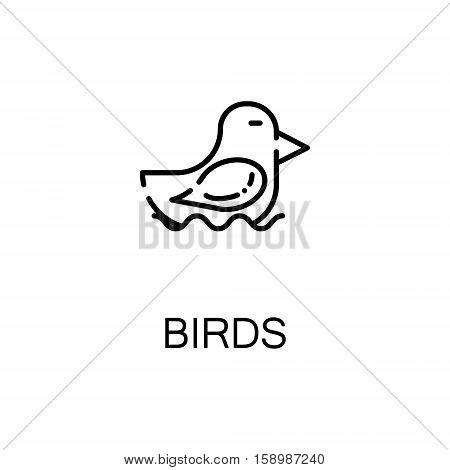 Bird flat icon. Single high quality outline symbol of spring for web design or mobile app. Thin line signs of bird for design logo, visit card, etc. Outline pictogram of bird
