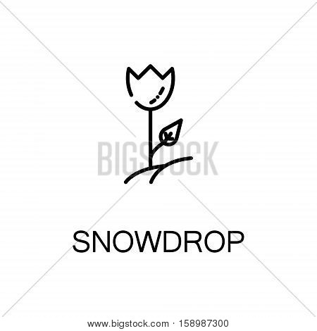 Snowdrop flat icon. Single high quality outline symbol of spring for web design or mobile app. Thin line signs of snowdrop for design logo, visit card, etc. Outline pictogram of snowdrop