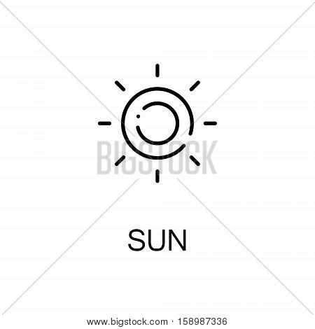 Sun flat icon. Single high quality outline symbol of spring for web design or mobile app. Thin line signs of sun for design logo, visit card, etc. Outline pictogram of sun