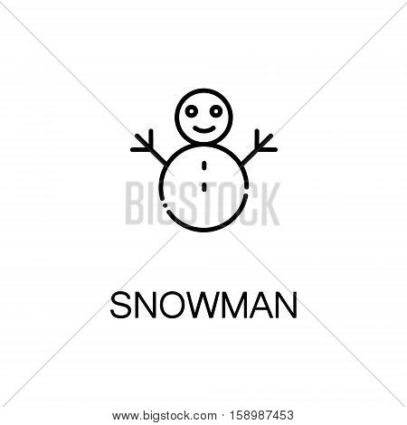 Snowman flat icon. Single high quality outline symbol of winter for web design or mobile app. Thin line signs of snowman for design logo, visit card, etc. Outline pictogram of snowman