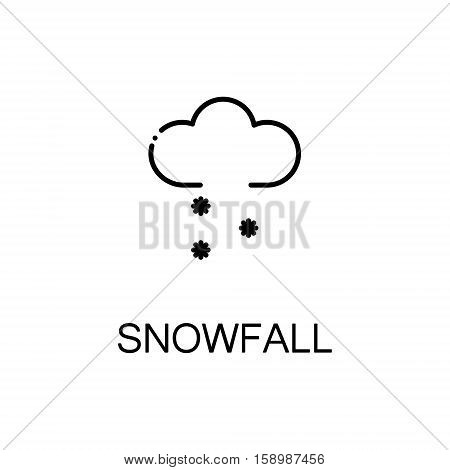 Snowfall flat icon. Single high quality outline symbol of winter for web design or mobile app. Thin line signs of cloud for design logo, visit card, etc. Outline pictogram of snowfall