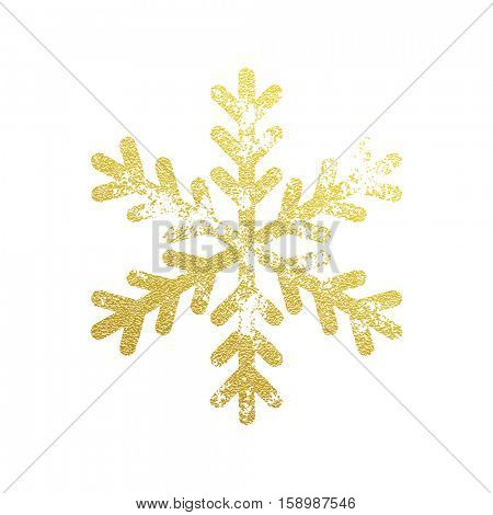 Snowflake with gold glitter texture. Christmas, New Year golden glittering ornament decoration on black background with shining sparkling light effect. Vector isolated icon on white background