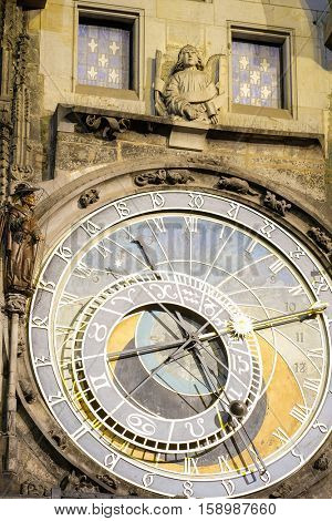Clock on the building of the Town hall on Old Town Square in Prague, Czechia