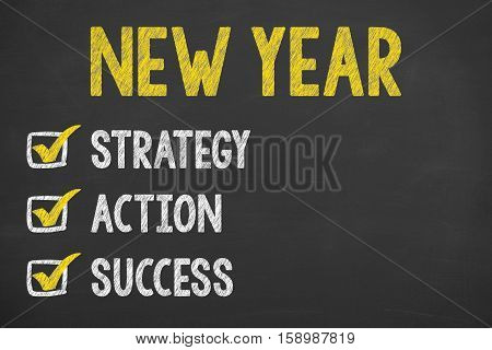 New Year 2017 Goals on Blackboard Background