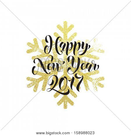 2017 Vector greeting for Happy New Year of winter golden and silver crystal snowflakes ornaments. Golden Christmas decoration vector poster or card with gold foil glitter lettering