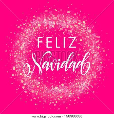 Spanish Merry Christmas Feliz Navidad . Wreath ornament decoration of sparkle glitter golden snowflakes stars pattern. Merry Christmas decorative text lettering. Pink Light glow yellow background
