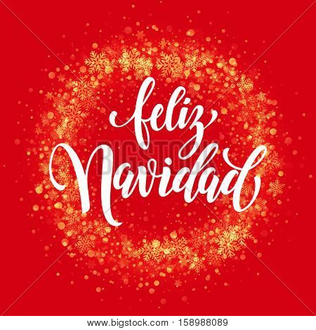 Spanish Merry Christmas Feliz Navidad . Wreath ornament decoration of sparkle glitter golden snowflakes stars pattern. Merry Christmas decorative text lettering. Light glow yellow background