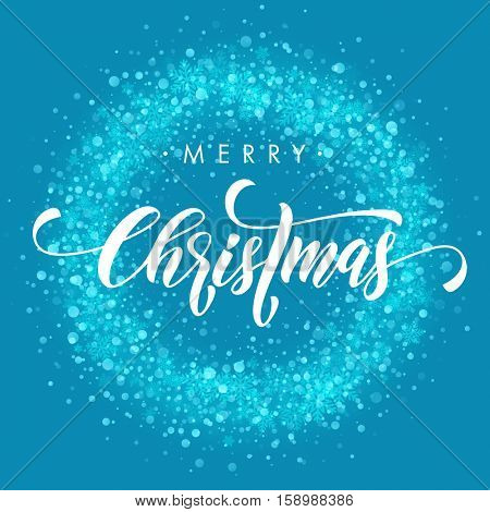 Wreath ornament decoration of sparkle glitter golden snowflakes stars pattern. Blue light glow vector background. Merry Christmas decorative text calligraphy lettering. Festive glittering gold snow.