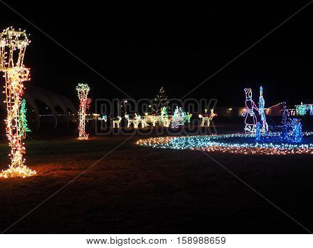 A colorful Christmas light display on a winter night.