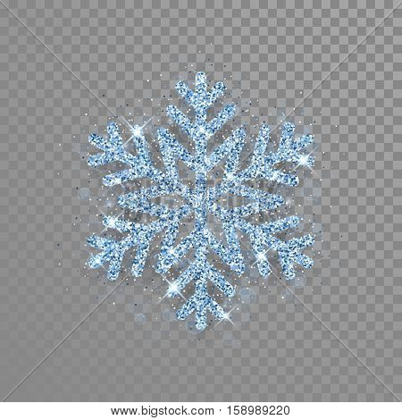 Sparkling blue crystal snowflake with glitter texture for Christmas, New Year greeting card. Vector transparent background with isolated winter diamond snowflake.
