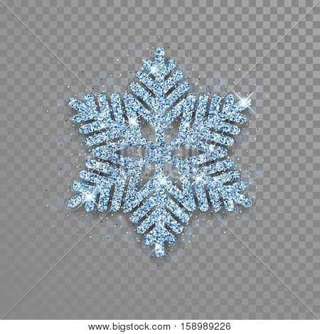 Snowflake with diamond glitter texture. Christmas, New Year golden glittering ornament decoration on transparent background with shining sparkling frost light effect. Vector isolated icon.