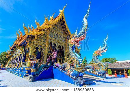 Rong Sua Ten temple with blue sky background Chiang Rai Province Thailand