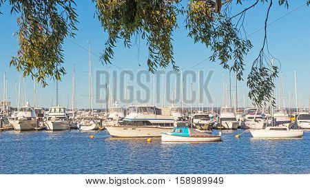 Boats lined up at their moorings in the Swan River in Perth Western Australia.