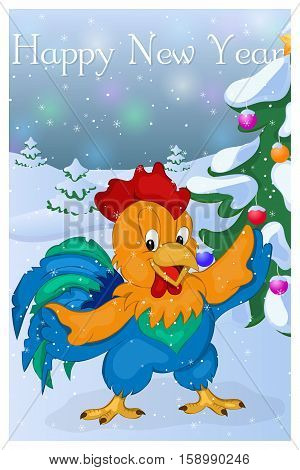 Cute Rooster with Christmas Tree. Merry Christmas and Happy New year greeting card. Christmas card in cartoon style. Vector illustration. New Year Collection.
