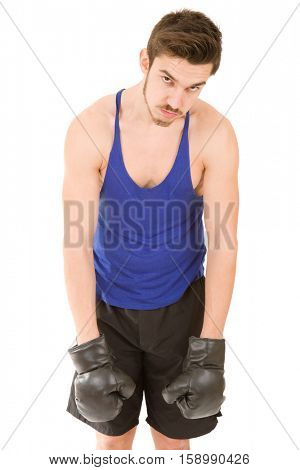 Man boxer defeated with black boxing gloves isolated on white background.