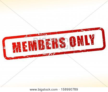 Illustration of members only stamp on white background