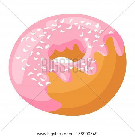 Cute sweet colorful tasty donut diet dessert. Chocolate or cream yummy cookie food confectionery. Candy decoration color topping round cake isolated pastry.