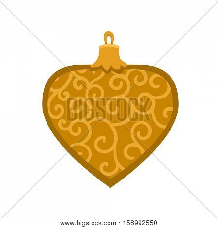 Merry Christmas gold ornamental toy with fur tree icon in roundframe, Christmas balls, vector illustration in flat style