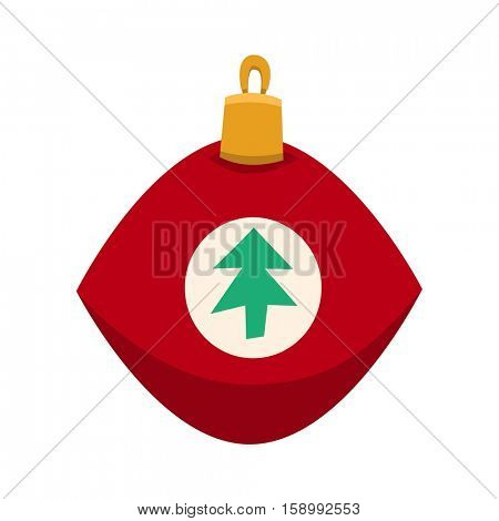 Merry Christmas red toy with fur tree icon in roundframe, Christmas balls, vector illustration in flat style