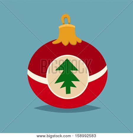 Merry Christmas red ball with fur tree icon in roundframe, Christmas balls, vector illustration