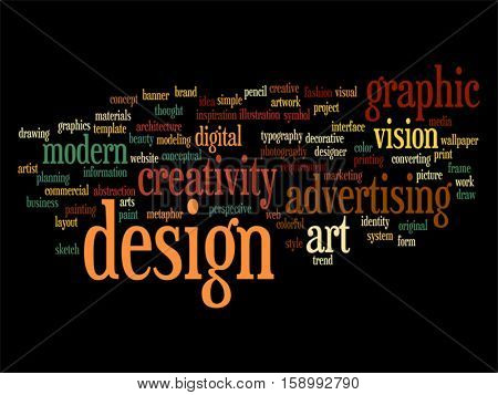 Vector concept conceptual creativity art graphic design visual word cloud isolated on background