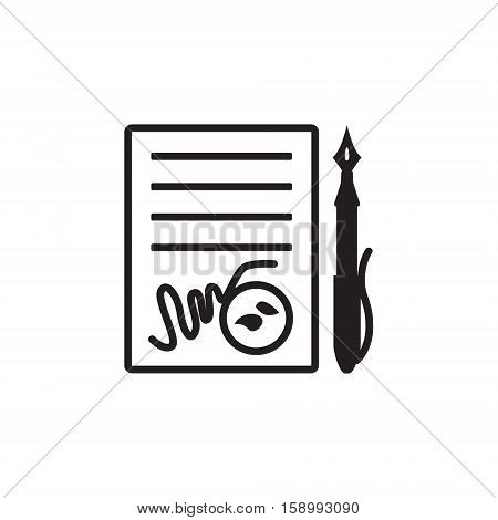 Vector icon or illustration showing contract signing with pen and stamp in black color style on white background