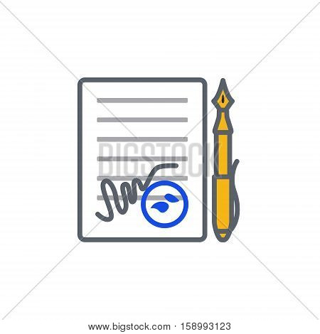 Vector icon or illustration showing contract signing with pen and stamp in outline style