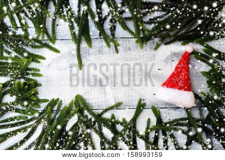 Christmas decoration and Xmas background on Winter