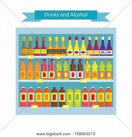 Supermarket shelves with groceries.Vector illustration in flat style ofa shelves with drink and alcohol products.