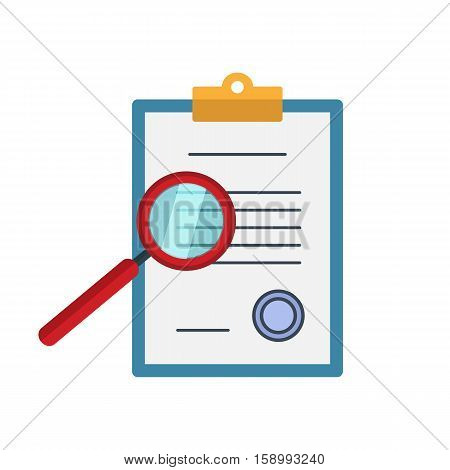 Business contract and magnifier - analyzing document. Zoom explore find locate paper document files. Vectorconcept in flat style.