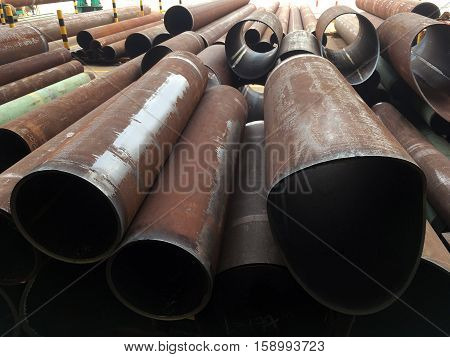 Pipe work structural steel in oil and gas offshore industry in a fabrication yard