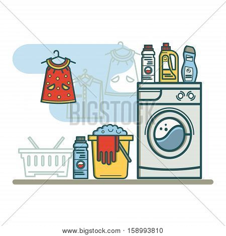 Laundry room with laundry facilities. Washing machine, laundry basket, detergent. Linear style vector illustration.