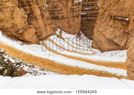 Snowy wiggle trail at Bryce Canyon National Park in Southern Utah.