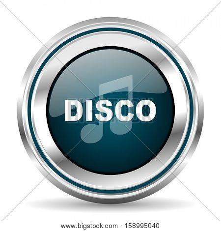 Disco music vector icon. Chrome border round web button. Silver metallic pushbutton.