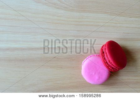 Pink And Red French Macaron Cookies, Food Concept