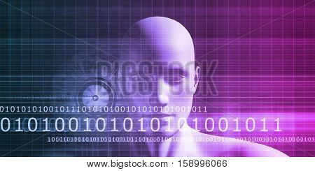 Navigating Cyberspace with Binary Data Glowing Art 3D Illustration Render