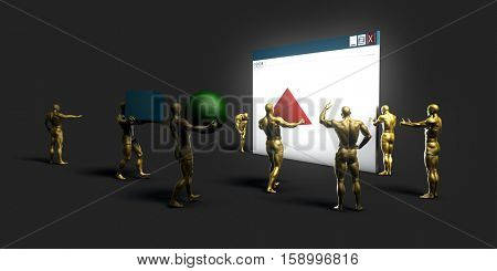 Website Project Development with Experienced Team Setting Up Site 3D Illustration Render