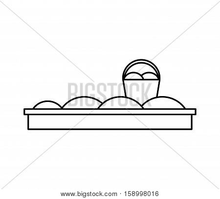 sand bucket toy flat icon vector illustration design