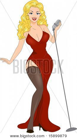 Illustration of a Pin Up Girl Performing