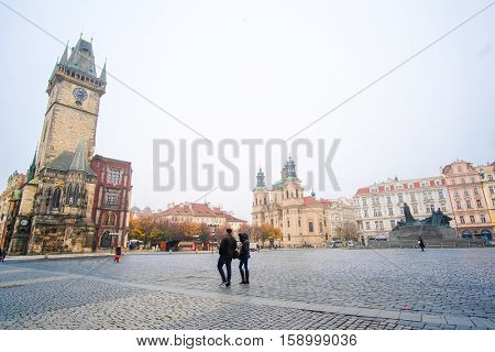 Prague, Czechia - November, 21, 2016: building of the Town hall on Old Town Square in Prague, Czechia