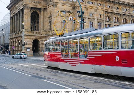Prague, Czechia - November, 21, 2016: tram stop in Prague, Czechia. Tram is popular transport in Prague
